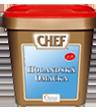 """<p style=""""font-size: 15px;""""><strong>CHEF® Сос Холандес</strong></p><p style=""""color: #010101;"""">Фин маслен сос, подходящ за всички видове ястия. За 10 порции по 150 мл изсипете 86 гр от продукта в 500 мл вода и 500 мл студено мляко, като разбърквате добре през цялото време докато заври. След това махнете от огъня и прибавете 500 гр масло и отново разбъркайте. Маслото може да бъде и в течна форма. Разбъркайте докато заври.<br /> 1 кг / 116 порции</p>"""