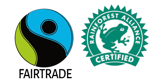 Fairtrade and Rainforest certificates